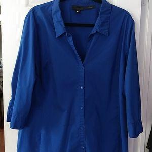 Worthington Button Front Dress Shirt Blue